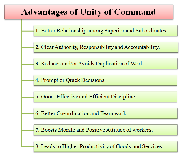 advantages and disadvantages of unity of command