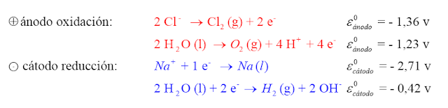 cloruro sodio disuelto electrolisis