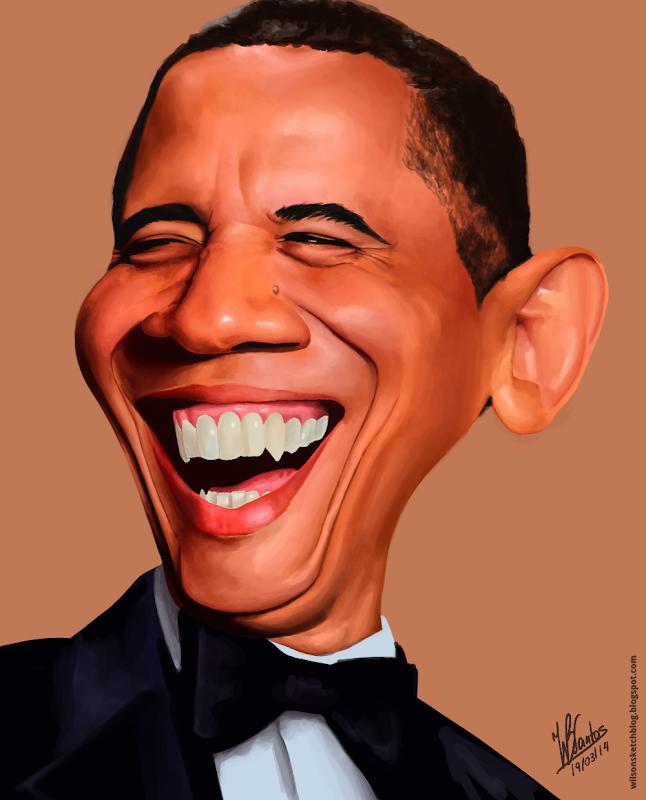 Caricature of Barack Obama, using Krita.