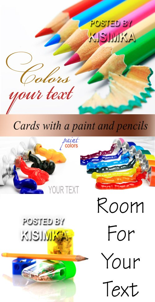 Stock Photo: Cards with a paint and pencils
