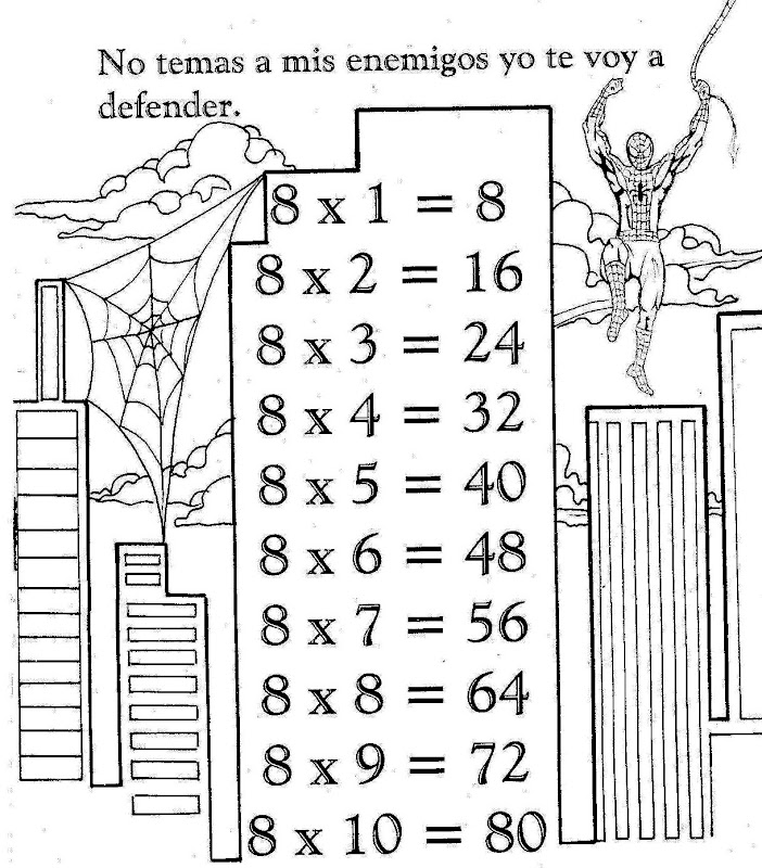 Tabla de multiplicar del 8 para colorear