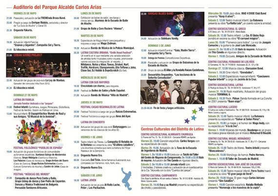 Programación de las Fiestas de Aluche 2012 (Fiestas del Distrito de Latina)