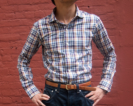 Front fit shot of Ratio Clothing Ogden Plaid shirt