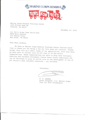 Here Is The Letter From Toys For Tots Thanking Us Our Donations Great Job Lil Crew
