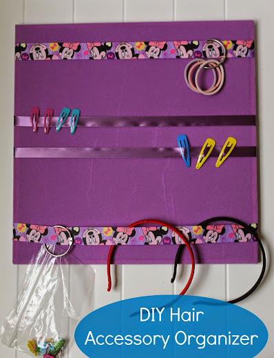 Easy Kids DIY Hair Accessory Organizer for hair bows, headbands and hair clips.  No tools and no glue gun needed!  Done in under 15 minutes.