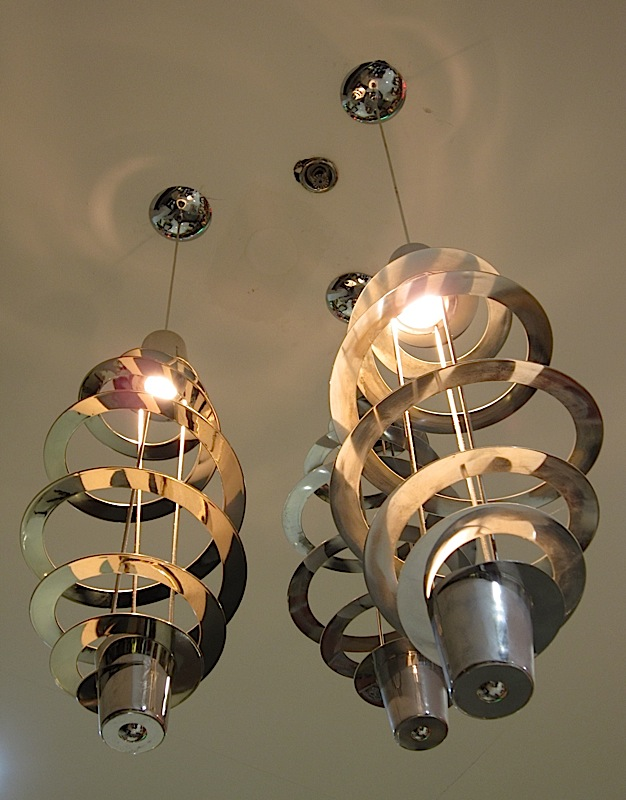 coil-shaped chrome chandeliers