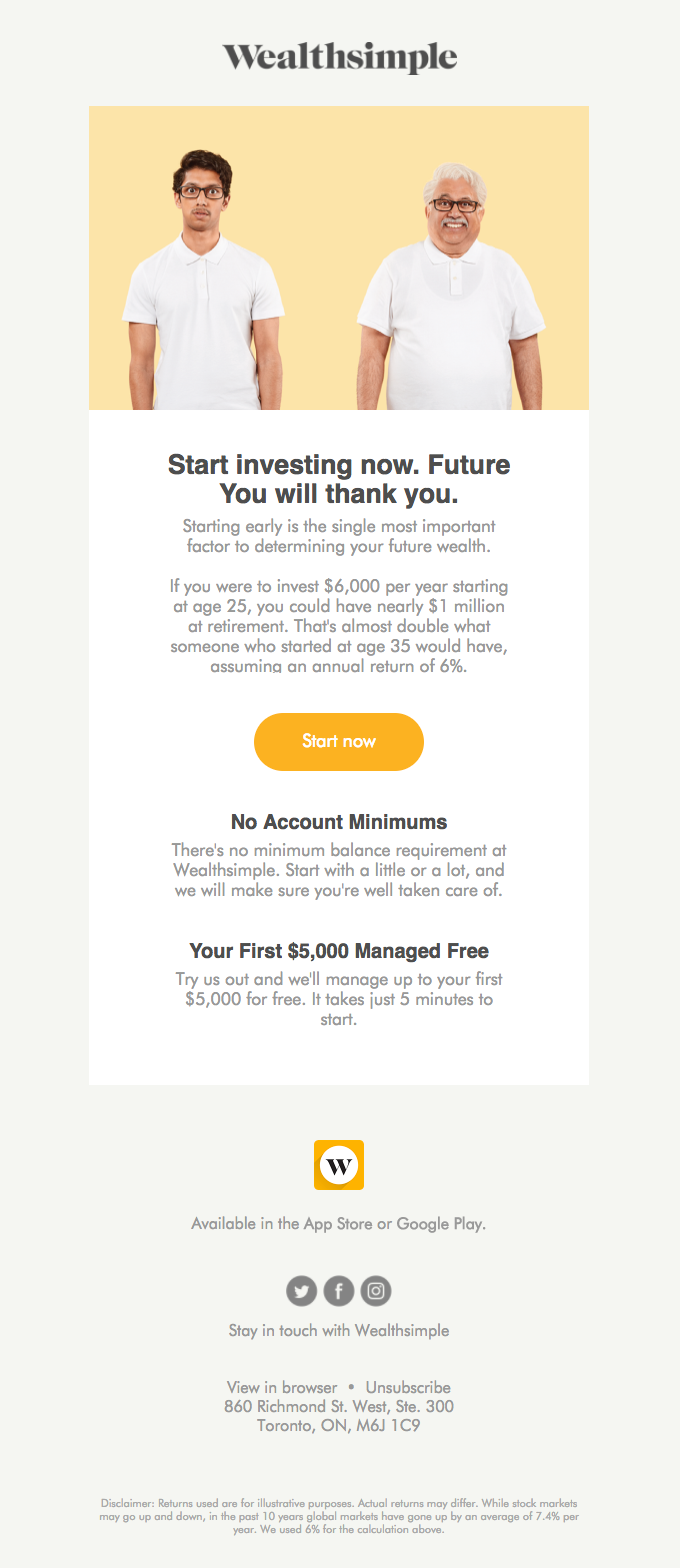 "Wealthsimple ""Start investing now. Future You will thank you."" banking email sample"