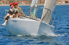 J/24 sailing upwind offshore Santa Barbara, CA in Cinco de Mayo Regatta
