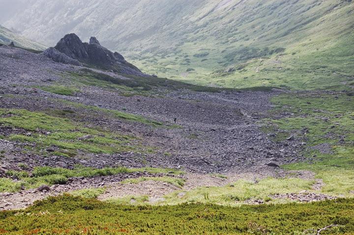 登山道の途中から千丈乗越し方面を見る
