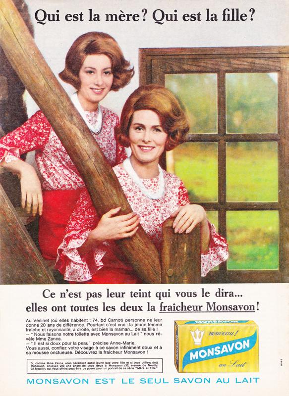 Publicité vintage : Qui est la mère ? Qui est la fille ?(Monsavon) - Pour vous Madame, pour vous Monsieur, des publicités, illustrations et rédactionnels choisis avec amour dans des publications des années 50, 60 et 70. Popcards Factory vous offre des divertissements de qualité. Vous pouvez également nous retrouver sur www.popcards.fr et www.filmfix.fr