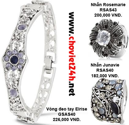 Vòng đeo tay Elrise - GSAS40, Nhẫn Rosemarie - RSAS43, Nhẫn Junavie - RSAS40