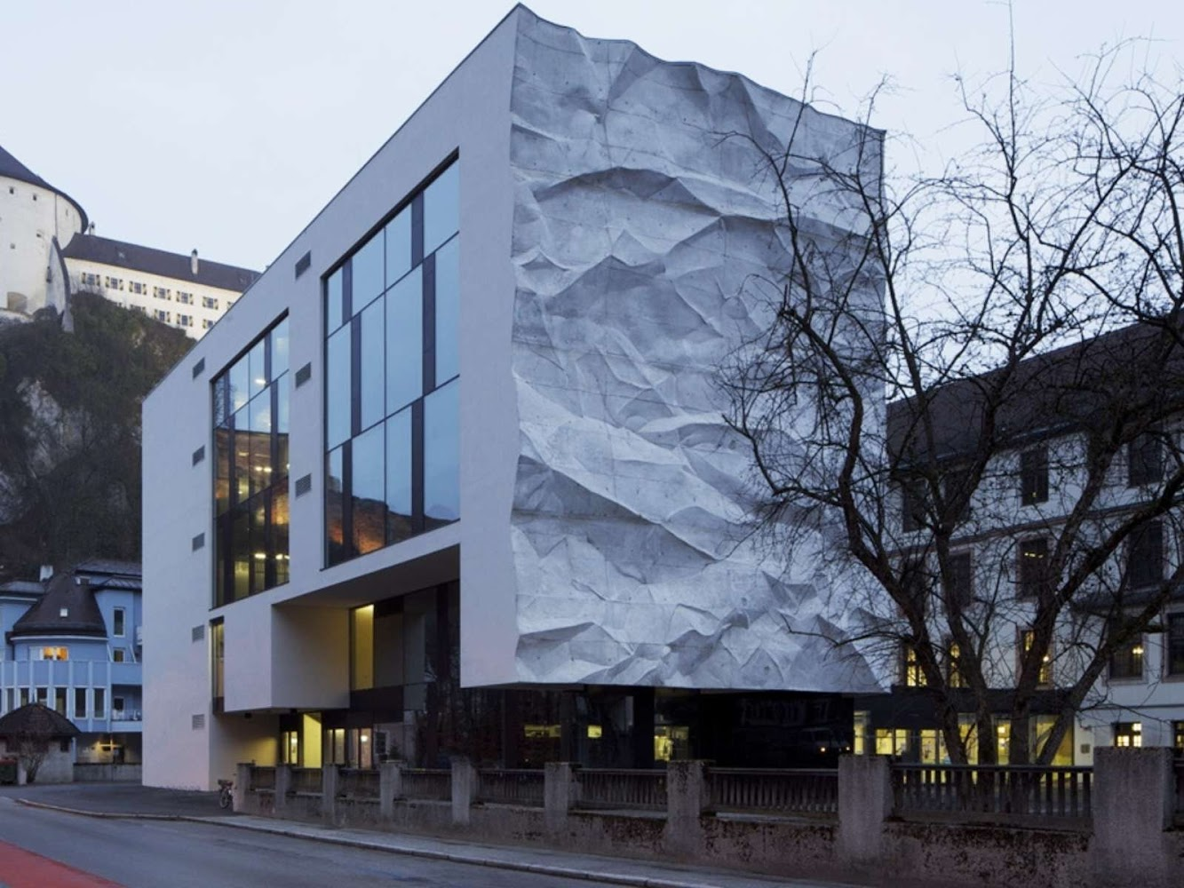 Kufstein, Austria: School Extension With Crinkled Wall by Johannes Wiesflecker