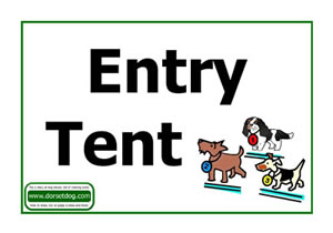 Dorset dog show A4 Entry tent sign