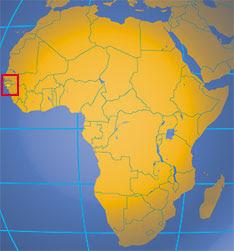 Posizione della Guinea Bissau