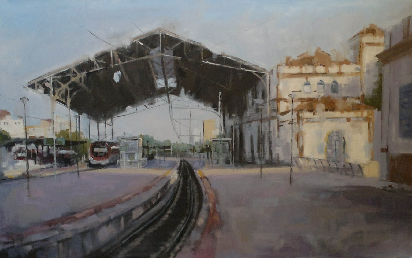 Pintura al óleo de la pintora Cristina López Ramírez,Estacion de Jerez