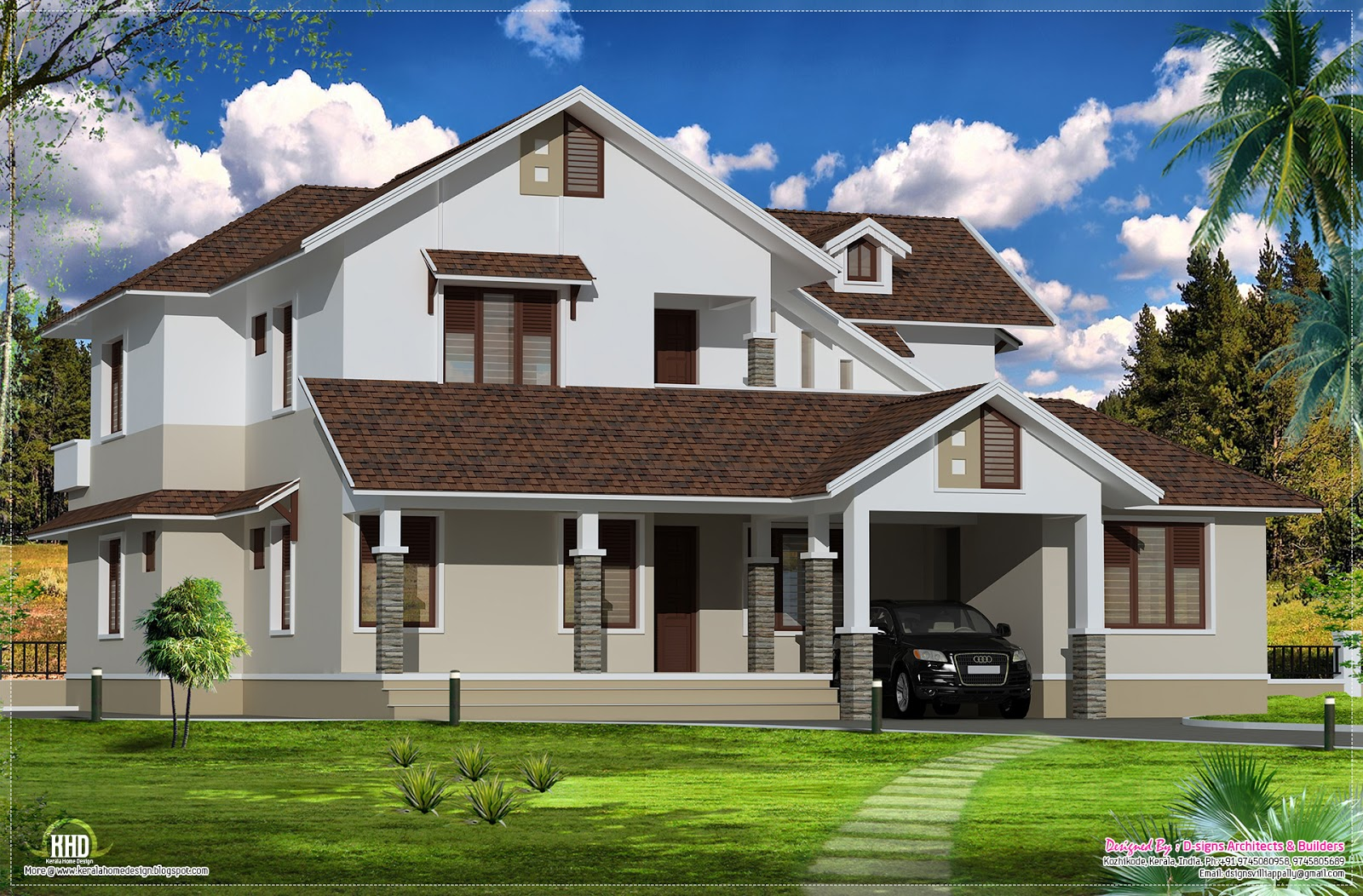 Sloping roof villa exterior elevation kerala home design for Indian house floor plans free