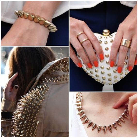 Gold accessories spike trend spike burberry coat spike gold collar spike gold bracelet pinterest