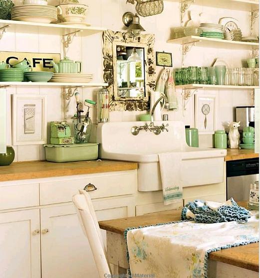 Fauna decorativa cocinas de turquesa a verde agua - Cocinas verdes y blancas ...