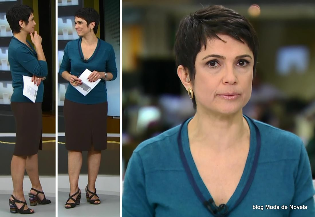moda do Jornal Hoje - look da Sandra Annenberg dia 15 de maio