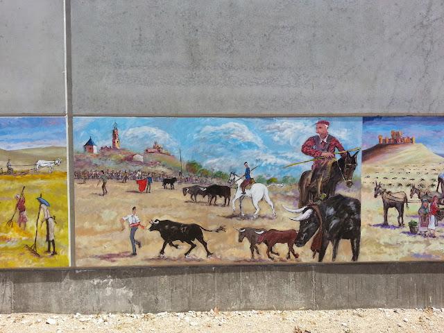Mural El encierro,pintura de Pascual Aranda