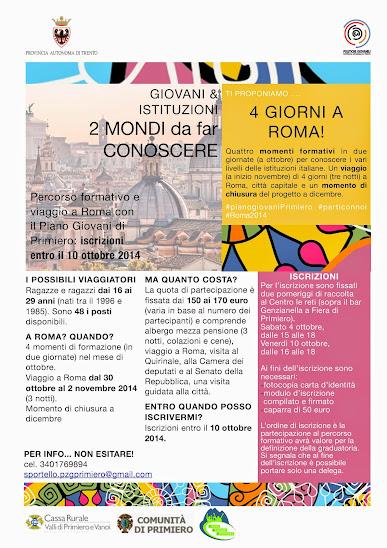 Volantino viaggio Roma paino giovani Primiero 2014