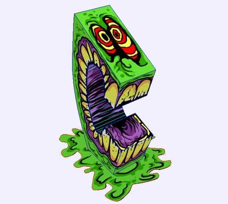 Green Slime Monster Paper Toy
