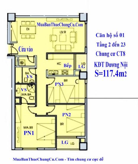 căn hộ 01 CT8 chung cư dương nội