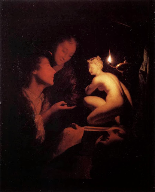 Godfried Schalcken - Artist and Model Looking at an Ancient Statue by Lamplight