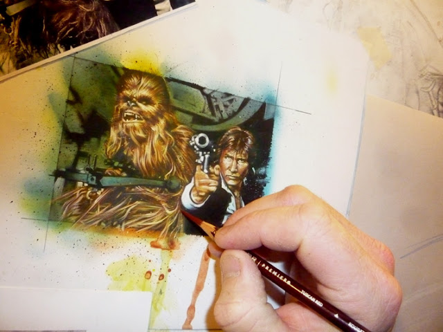Han Solo and Chewbacca, original art by Jeff Lafferty