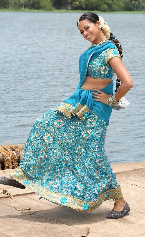Bhavana in designer half saree saree blouse patterns checkout south indian actress bhavana in beautiful designer blue half saree embellished with sequinszardosi and beads altavistaventures Gallery