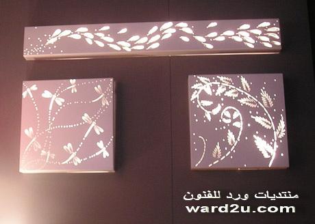 عمل لوحات زهور للديكور بالاضاءة الغير مباشرة
