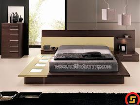 Giường ngủ gỗ màu trắng kem