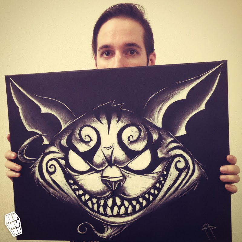 cheshire cat sketch, cheshire cat art, akumuink art, nightmare artist, cheshire cat painting, american mcgee alice art, american mcgee fanart, goth cat art, goth painting, goth painter, goth artist, japanese goth art, japanese horror artist