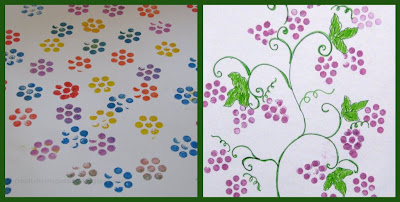 Bundle up pencils to form a flower, Grape bunch shape and stamp