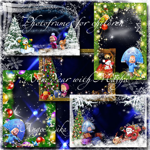 Collection of Winter Photoframes for Children - New Year with Masha