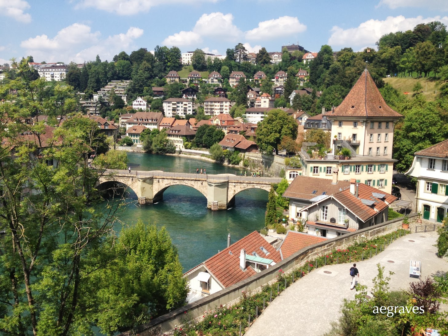 image of the Aare River in Bern, Switzerland by A.E. Graves