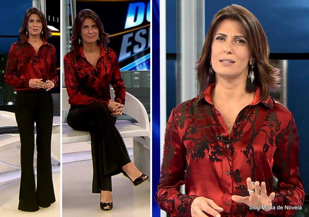 moda do programa Domingo Espetacular - look da Janine Borba dia 20 de julho