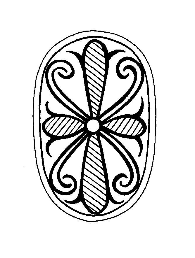 Mandalas Para Pintar: Pequeño mandala con cruz floral I