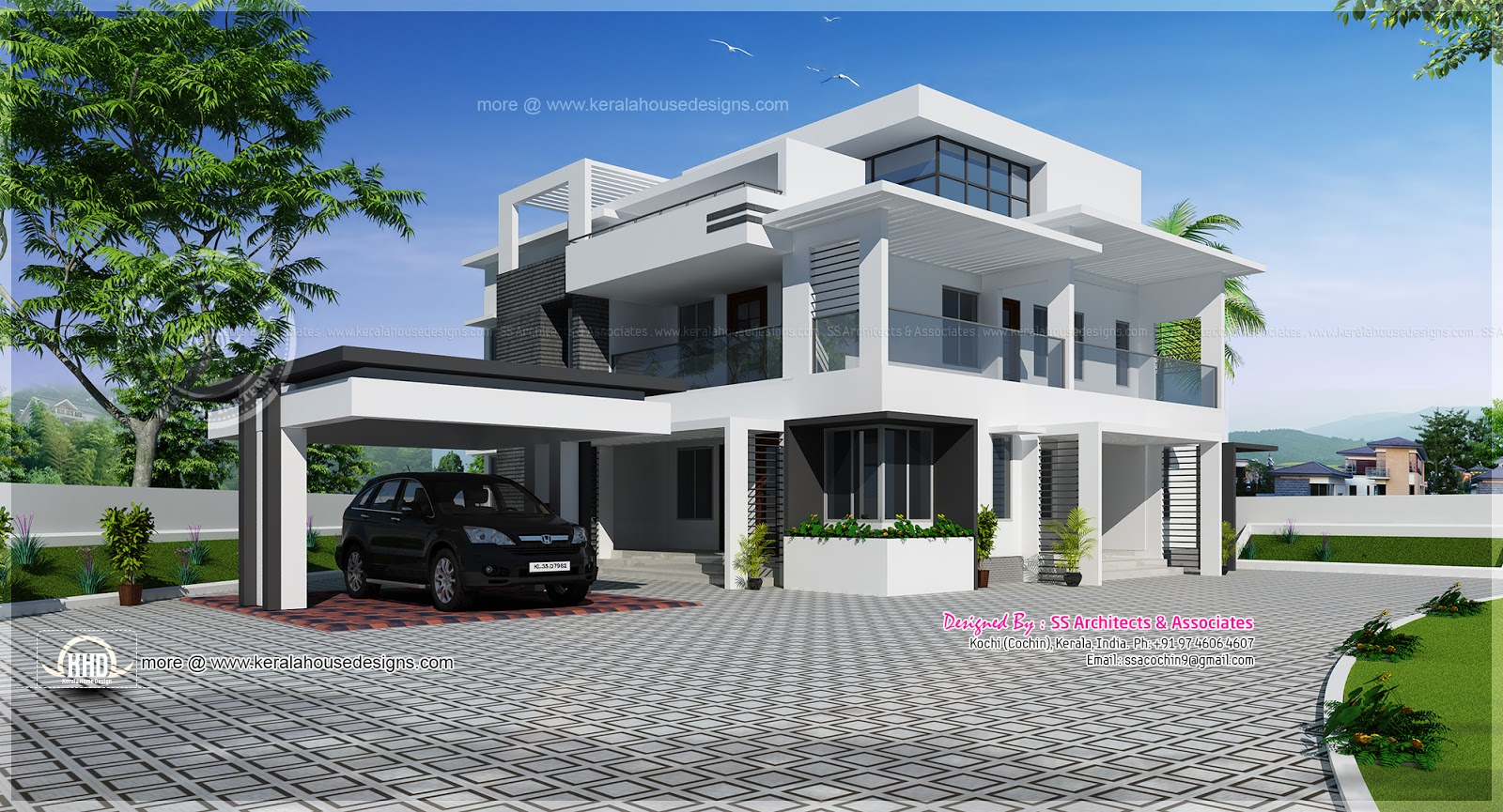 Kerala model small plan flat roof joy studio design for Kerala home design flat roof elevation
