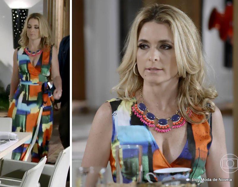 moda da novela Geração Brasil, vestido multicolorido da Pamela dia 21 de outubro