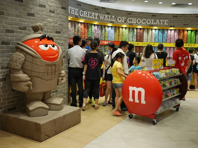 The Great Wall of Chocolate at the M&M's World in Shanghai