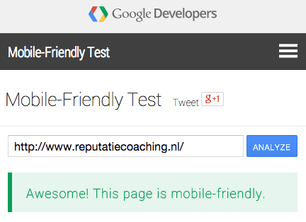 ReputatieCoaching.NL is mobile-friendly volgens Google