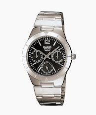 Jam Tangan Wanita Tali Kulit Hitam Casio Standard : LTP-V300L-1A