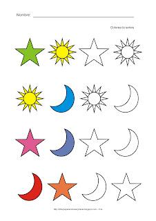 Lámina de Comparación utilizando formas básicas como el sol, las estrellas y la luna en diversos colores. Observa el dibujo y continúa coloreando la serie