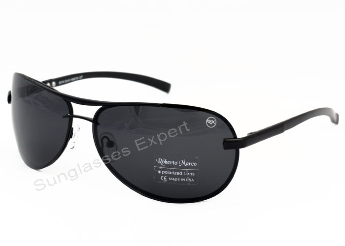 ed15c712652 Roberto Marco Aviator Design Polarized Sunglasses for Drivers - Grey Lenses
