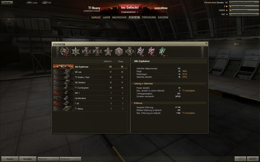 World of Tanks Screenshot: Spielerstatistik & Medallien