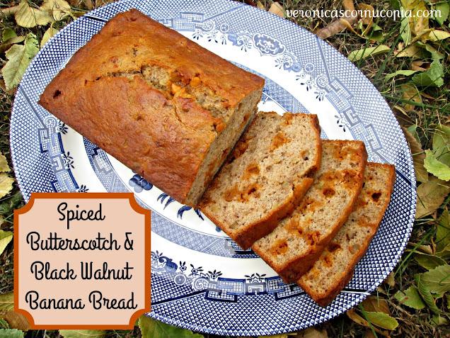 spiced butterscotch & black walnut banana bread