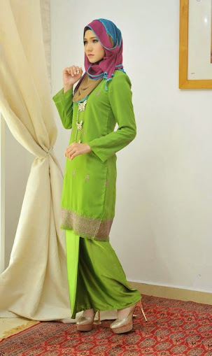 baju kurung moden hijau online murah baju raya 2014 cutting slim