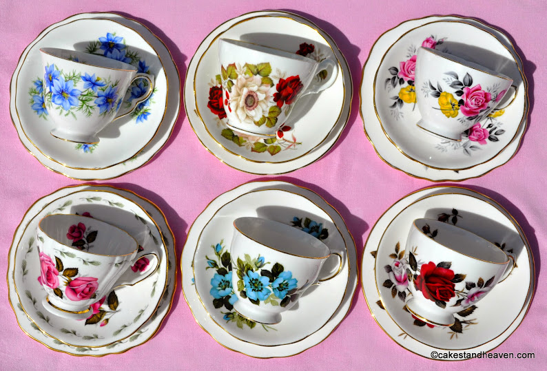 pretty floral eclectic vintage teacups set of six