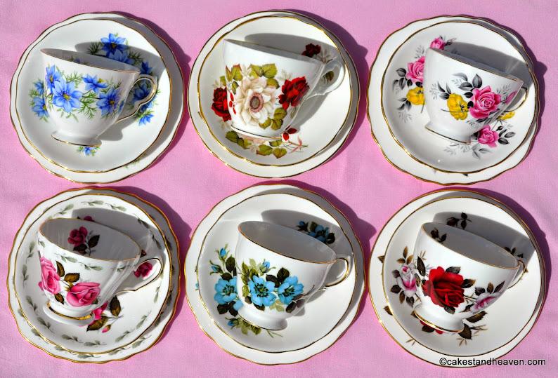 pretty floral eclectic vintage teacups set of six